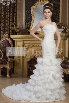 White Beading Princess Hourglass Sweetheart Court Train Wedding Dress Wholesale Price: US$289.99