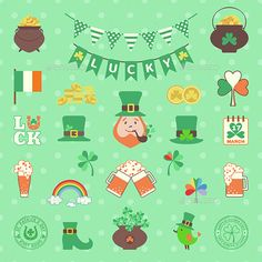 Saint Patrick's Day Icon Set by 7romawka7 Set consists of 25 flat icons for Saint Patricks Day.Icluded files: .EPS10 100% scalable and high resolution pixels RGB Jpeg imag