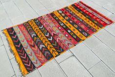"""Anatolia Turkish Rug 3'6 X 6'6 Hand Woven Wool Sivas Cicim Kilim 44"""" X 79"""""""