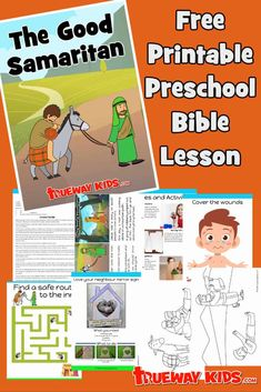 The Parable of the Good Samaritan -  Luke 10:25-37. Free printable preschool Bible lesson. Love your neighbor. Includes worksheets, craft, coloring pages, story and more. Great for church or homeschool use. Preschool Bible Lessons, Bible Crafts For Kids, Bible Lessons For Kids, Bible Activities, Sunday School Curriculum, Sunday School Activities, Good Samaritan Bible, Bible Parables, Easter Art