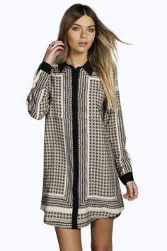 Courtney+Border+Print+Shirt+Dress+at+boohoo.com