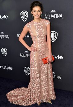Golden Globes 2016: All the Dresses You Didn't See on the Red Carpet | People - Nina Dobrev in a Max Azria floral lace dress
