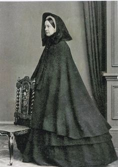 Woman in Full Mourning, Print of Original Carte de Visite, Circa 1864.