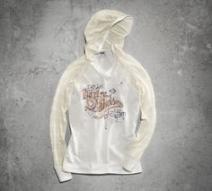 Let the snow and temps fall when you are wrapped inside this warm pullover. | Harley-Davidson Women's Sweater Lace Sleeve Pullover
