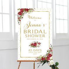 Christmas Shower Welcome Sign Wedding Shower Signs, Bridal Shower Welcome Sign, Christmas Bridal Showers, Photo Booth Frame, Christmas Flowers, Floral Theme, Cream Roses, Bridal Shower Decorations, Christmas Countdown