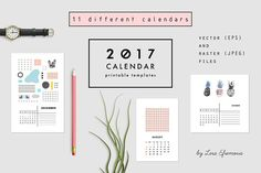 2017 CALENDARS | raster & vector by Lera Efremova on @creativemarket