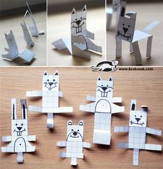 It all started with my daughter's block paper textbook… The animals turned out very amusing, but too small for little hands to cut out…    That's why we prepared a printable sheet with bigger squares and animal patterns.    Count the blocks with a colored pencil or pen and trace the contour. Cut out and fold to make 3-dimensional figures. The folds must be done well so the animals will stand upright.
