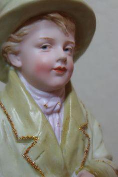 "13"" Gebruder Heubach Bisque porcelain Piano Baby doll Figurine Antique c 1900s"