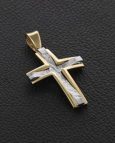 Σταυρός Βάπτισης δυο όψεων Χρυσός & Λευκόχρυσος | eleftheriouonline.gr