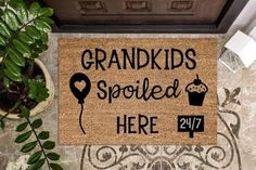 We all know grandkids get spoied, so why not gift your parents or your inlaws with this gift for Christmas or for their birthday. I don't want to speak too soon, but it seems like I've just helped you out with some shopping :) You can thank me later. Best Shakes, Personalized Door Mats, Decorating Blogs, Just Giving, Grandkids, Hand Lettering, Your Design, Latex, Doormat