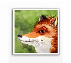 Red Fox Art  Print of a Watercolor Painting  woodland от LaBerge