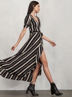 You know those long, lovely dresses you can put on and instantly feel amazing in with zero effort? The Lochness Dress is one of those. So it's kind of our speciality. This is a crepe wrap maxi dress with pleated short sleeves and a fitted tie waist. Oh, and the skirt looks amazing when you walk - we may or may not have designed it to show just a little bit of leg. Made from 100% viscose.