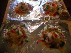 Hobo Dinners. My favorite easy meal.   On four foil sheets, take a pound of ground beef and divide it into 1/4# patties. Top with cheese. Add shredded hashbrowns, your choice of peppers (i use red, yellow & green), sliced mushrooms & onions. Sprinkle with salt, pepper & butter. Wrap the foil around & bake at 350 for about an hour. Unwrap and top with sour cream. Delicious!