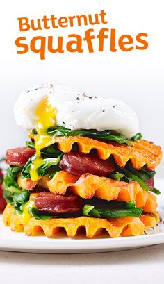 Mother's Day brunch? It's got to be these butternut squaffles with chorizo, poached eggs and spinach.