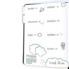 Bullet journal weekly layout, one page weekly layout, cloud drawing, bird drawing. @b.bulletjournal