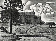 Untitled (Farmhouse With Horse And Tree), Etching, Julius J Lankes ($375)
