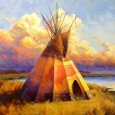 """Colt Idol As the Clouds Roll In Oil 40"""" x 40″ SOLD Native American Paintings, Native American Artists, Indian Paintings, Native American Beauty, American Indian Art, Canvas Photo Transfer, Southwestern Art, Landscape Artwork, Native Art"""