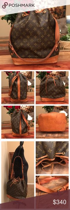 """Authentic Louis Vuitton Noe GM 100% Authentic Louis Vuitton Noe GM.  Monogram canvas has no scratches or tears.  Bottom leather has wear and rubbing but no tears and stitching is good.  Top rim leather has cracks see pic but still functional.  Drawstring is worn but still original.  Strap has cracks and worn but still good and functional.  Hardware is tarnished.  Inside is clean and has minor storage odor to go away with use.  W16.5xH13.7xD7.87"""".  I do not trade. Louis Vuitton Bags Shoulder…"""