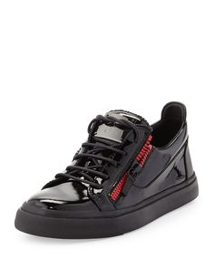 Giuseppe Zanotti Men's Patent Double-Zip Low-Top Sneaker