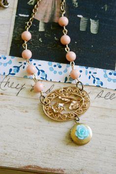 Garden path. vintage assemblage locket necklace.tiedupmemories