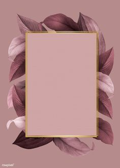 Golden frame on a pink leafy background vector | free image by rawpixel.com / Kappy Kappy