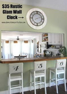 Simple way to dress up any clock, making it bigger and more rustic. Love this, and it looks like something I could do!