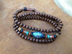 Wood Bead With Turquoise Charm Bracelet by SunnyDays413 on Etsy, $12.50