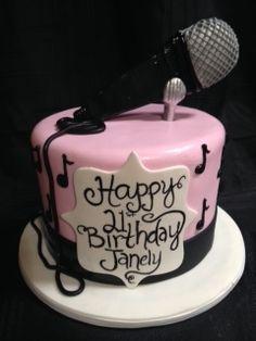 Musical Birthday cake with fondant microphone