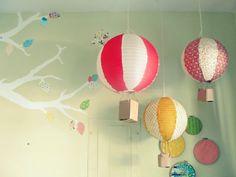 hot air balloons- paper lantern+fabric