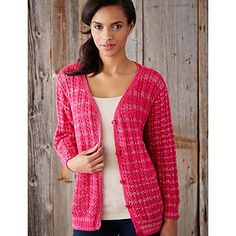 Knit in Patons Glam Stripes with a touch of sparkle, this cardigan can be dressed up or down!