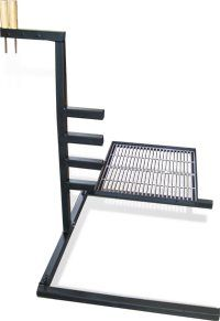 Campfire Grill Stand - Homemade campfire grill stand featuring an adjustable grate level. Bbq Grill, Campfire Grill, Grilling, Barbecue Area, Welding Table, Welding Art, Metal Welding, Metal Projects, Welding Projects