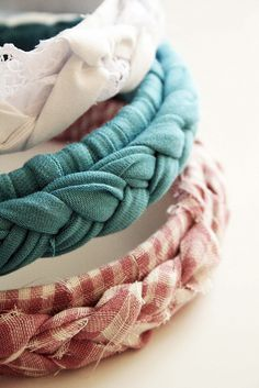 DIY Headbands - Dollar store headband, old fabric or t-shirt, hot glue gun. 1. wrap headband with fabric 2. braid fabric 3. glue it to headband