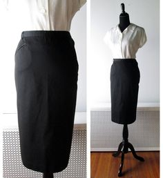 1950s Pencil Skirt in Black Cotton $46.00