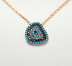 925 Rose Gold silver Evil Eye NecklaceSilver by KurtArtJewelry