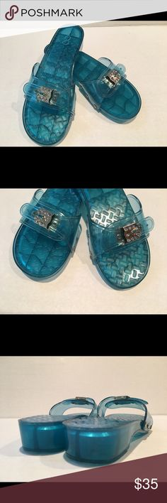 "BEACH⛱POOL🏊‍♀️CRUISE 🏝-Summer Slip-On**Clogs 🏖 Retro-Ladies Slip On Clogs; Size:8M; Color: Clear Aqua/Blue; Shiny, Wet-Look;  Adjustable hook & loop band with 8 Blue Crystals buckle details; Stud accents; Countered footbed; Material: Plastic; Specialty Sole-helps retard slippage; Heel height: 2.1/4"" ; Front Shoe Platform Approx. 1/2"" ; EXCELLENT USED CONDITION (view photos) Ask questions &/or concerns; Thanks for viewing! 🛍 g Sandals Shoes Mules & Clogs"