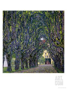 Tree-Lined Road Leading to the Manor House at Kammer, Upper Austria, 1912 Giclee Print by Gustav Klimt at Art.com
