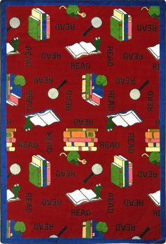 Great reading Bookworm carpet for the classroom. Red