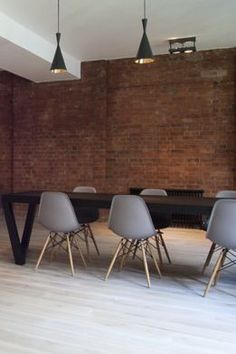 Eames please (timber leg teamed with a pair of Tom Dixon Beat Tall Pendants) Cafe Interior, Interior And Exterior, White Wood Floors, Wood Flooring, Interior Design Inspiration, Home Decor Inspiration, Industrial House, Commercial Interiors, My Living Room