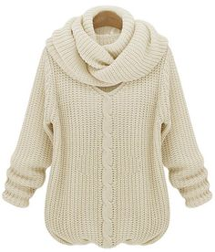 Beige Long Sleeve V Neck Scarves Cable Knit Sweater