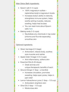 Detox Bath Basic with optional ingredients
