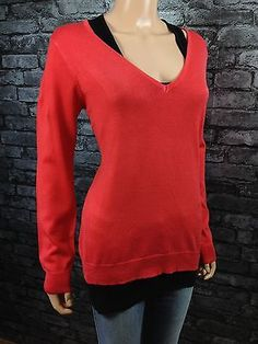 WOMANS FASHION FINE KNITTED V-NECK PUSSY BOW JUMPER SWEATER SIZE 14 / 16  (c91) £12.90