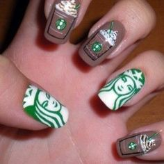 The classic battle of Starbucks… | 26 Incredibly Detailed Nail Art Designs