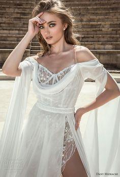 dany mizrachi 2018 bridal long angle sleeves off shoulder sweetheart neckline high side slit flowy skirt grecian a  line wedding dress (2) zv -- Dany Mizrachi 2018 Wedding Dresses