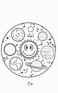 Mandala Coloring, Colouring Pages, Coloring Pages For Kids, Coloring Books, Cosmos, Preschool Painting, Earth Craft, Solar System Projects, Outer Space Theme