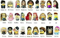 Minions disfrazados de muchos personajes , jajajaja , mis preferidos son el de Miley , Selena , Gaga , Nicki , Rihanna , Xtina , P!nk , Jessie J , Adam . Le , Madonna y Jolin