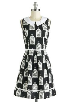 All Eyes on Unique Dress in Birdcage, #ModCloth