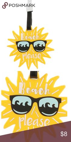 SUN IN SUNGLASSES RUBBER BAG TAG FOR LUGGAGE SIZE	 6 INCH DROP COLOR	 Yellow DESCRIPTION GENERAL MERCHANDISE SUN IN SUNGLASSES RUBBER BAG TAG BEACH PLEASE LUGGAGE TAG ID TAG 6 INCH Bags Travel Bags