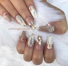 Best Winter Nails for 2017 - 67 Trending Winter Nail Designs - Best Nail Art Fancy Nails, Love Nails, Trendy Nails, Rhinestone Nails, Bling Nails, 3d Nails, Rhinestone Nail Designs, Bling Wedding Nails, Coffin Nails