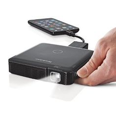 HDMI Pocket Projector -300 smackeroos- 1800p connects via HDMI (i don't know what that means) to any mobile device. Projects large images for up to two hours wirelessly & has built-in speakers & focus control.