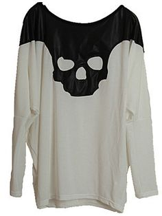 White Long Sleeve Contrast Leather Skull T-Shirt US$29.60
